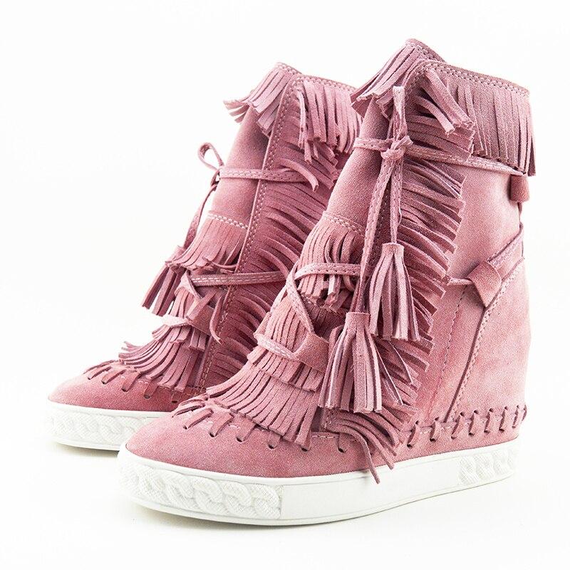 Camurça fring alto topo cunhas mulher sapatos dedo do pé redondo altura crescente rendas até borla botas tornozelo botas casuais senhoras tamanho grande
