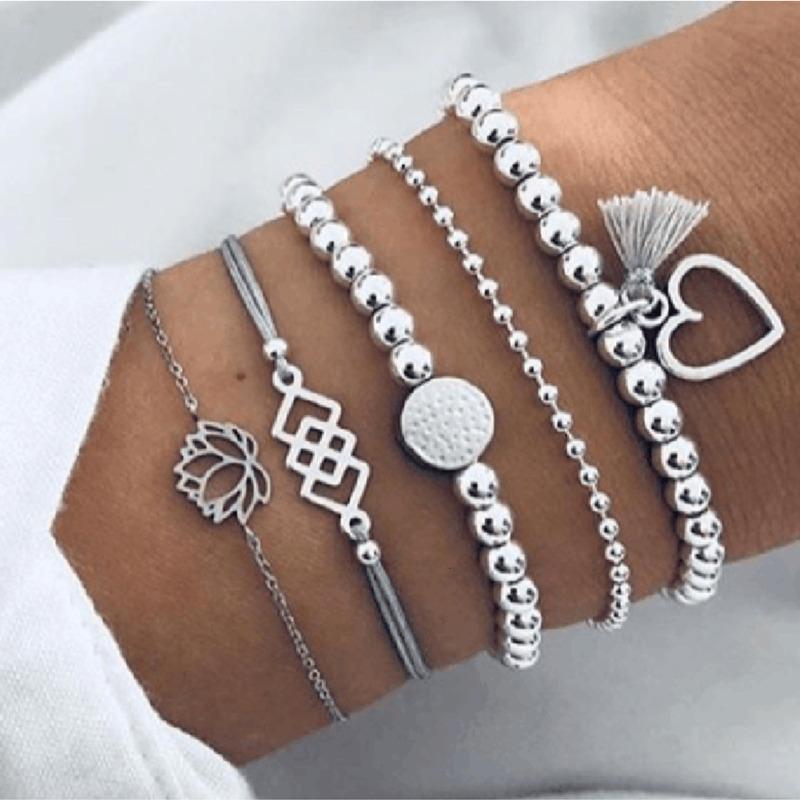 2021 Bohemian Bracelets & Bangles Set Vintage Bead Boho Charm Bracelet For Women Jewelry Accessories Pulseras Mujer Bijoux Femme