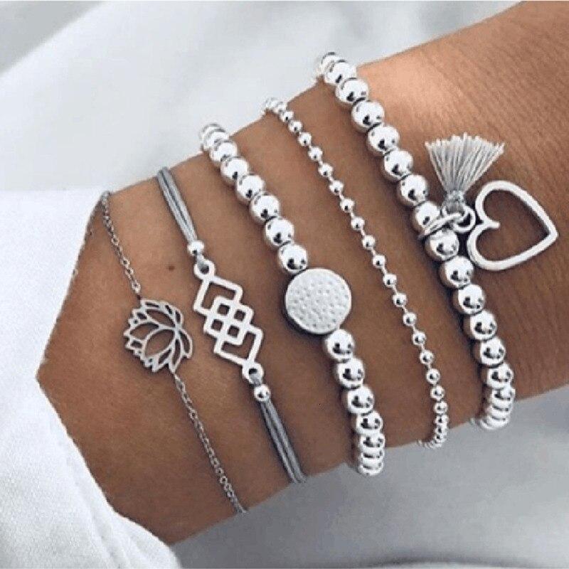Pulseira e bracelete boêmio feminino, conjunto pulseiras e braceletes boho charme vintage, acessórios joias para mulheres, 2020