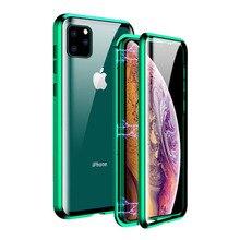 Métal Magnétique étui pour iphone 11 X XR XS Max Verre Trempé Laimant Arrière De Protection étuis pour iphone 11 Pro Max Étui Aimantée