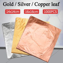 Imitation Gold Leaf Paper Gold Foil Sheets Gilding Copper Aluminum Leaf for Arts Crafts Gilded Home Decoration 1000PCS 14CM&16CM