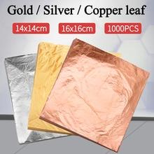 Imitation Gold Leaf Papier Gold Folie Blätter Vergoldung Kupfer Aluminium Blatt für Kunst Handwerk Vergoldeten Hause Dekoration 1000PCS 14CM & 16CM