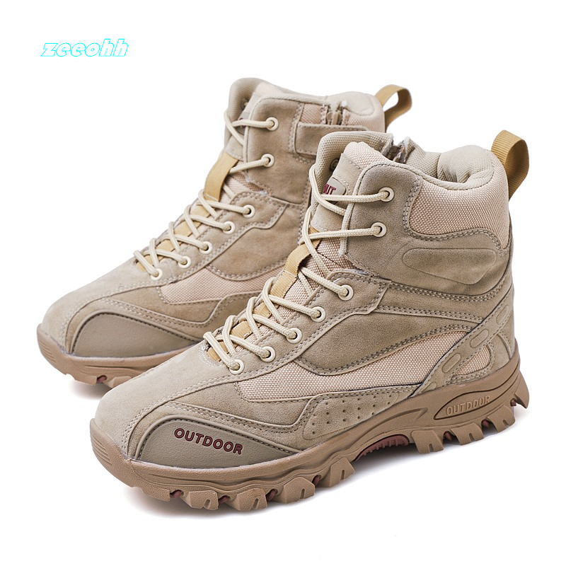 Men Military Boots Suede Leather High Top Casual Desert Flat Sneaker Shoes Men Special Police Ankles Battle Room Winter Boots