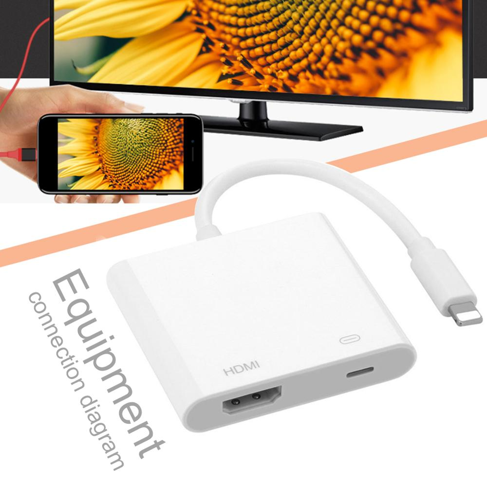 Compatible With IPhone To HDMI Adapter/iOS HDMI Adapter Digital AV Adapter Support High-Definition TV Monitor Projector Computer