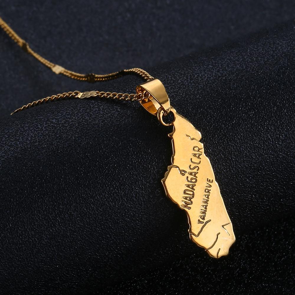 Модное ожерелье с подвеской мадагаскарская карта Золотой Цвет Мадагаскарские карты очаровательные украшения