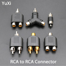 цена на YuXi RCA to Dual RCA male female to female Coupler Audio Connector Converter Adapter Plug video AV cable for CCTV camera