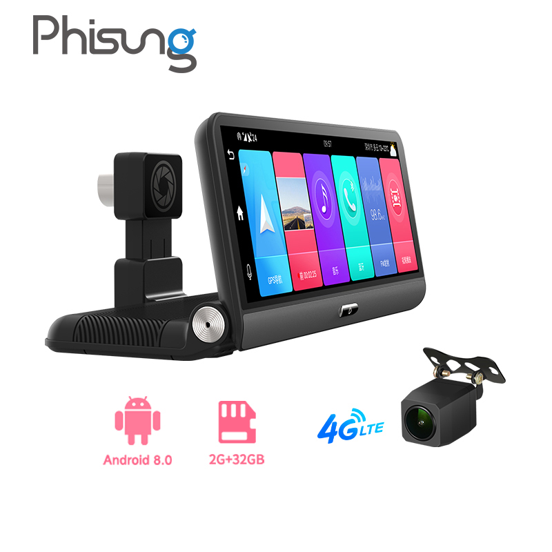 Автомобильный видеорегистратор Phisung P03, 8 дюймов, 2 + 32 ГБ, 4G, Android 8,1, ADAS, HD1080P, Wi-Fi, GPS-навигатор, автомобильный видеорегистратор