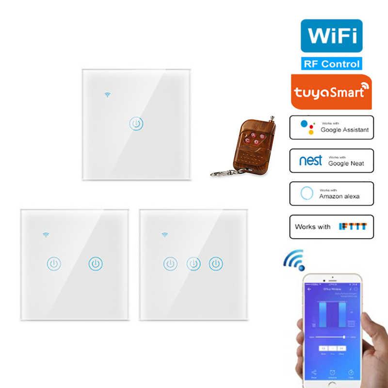 Tuya Smart Switch Tidak Ada atau Netral Mengenai Saham Remote Tunggal Api Kawat Lampu Akses Internet Nirkabel RF 433 MHZ Smart Rumah Controller Standar Uni Eropa