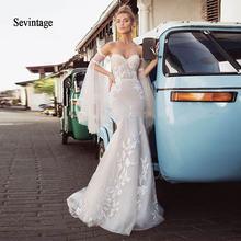 Sevintage свадебное платье русалки с длинным съемным Расклешенным