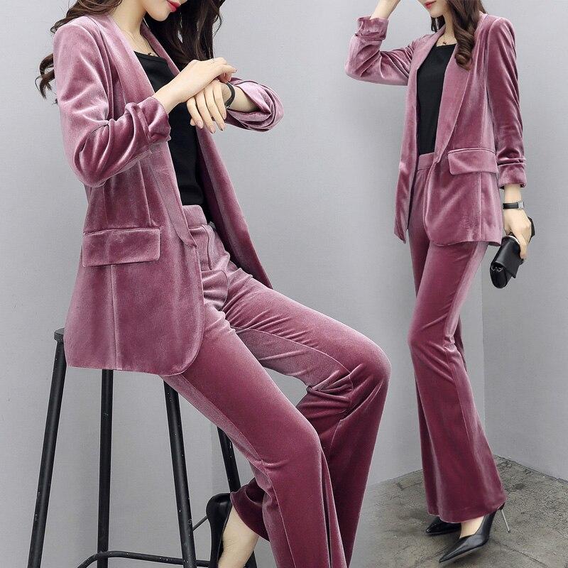 Gold Velvet Plus Size Two Piece Sets Professional Designer Clothes Women Luxury Fashion 2 Piece Set Top And Pants Women's Suit