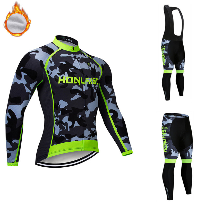 2020 Pro Team Winter thermal fleece Cycling Clothing men Long Sleeve Outdoor Riding Cycling Jersey Set MTB Bike Bib Pants