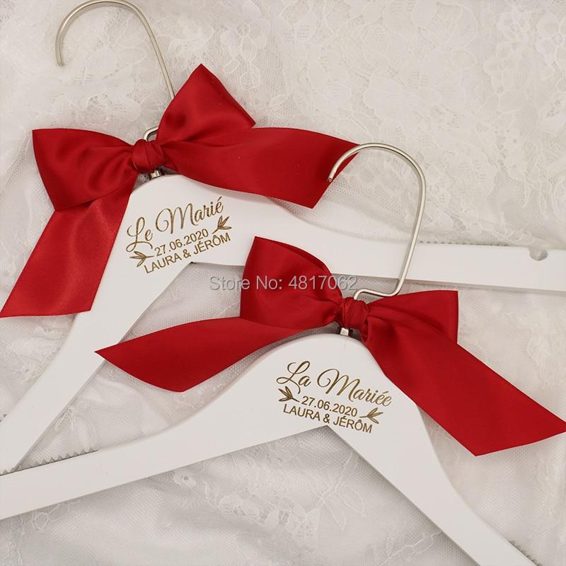 Custom Wedding Hanger - Engraved White Hanger Message