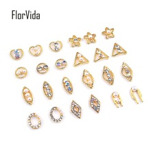 FlorVida Nail Art Alloy Decoration Gold Metal Bottom With Rhinestones Pearl Beauty 3D