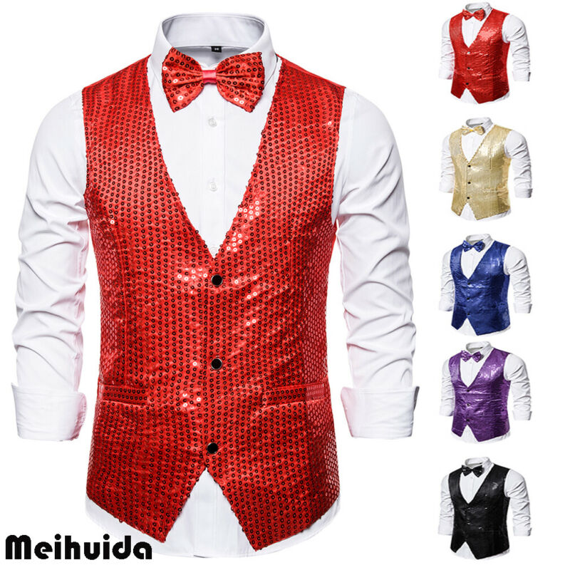 Men Formal Shiny Sequin Longline Jacket Suit Blazer Outfit Stage Costume Top New