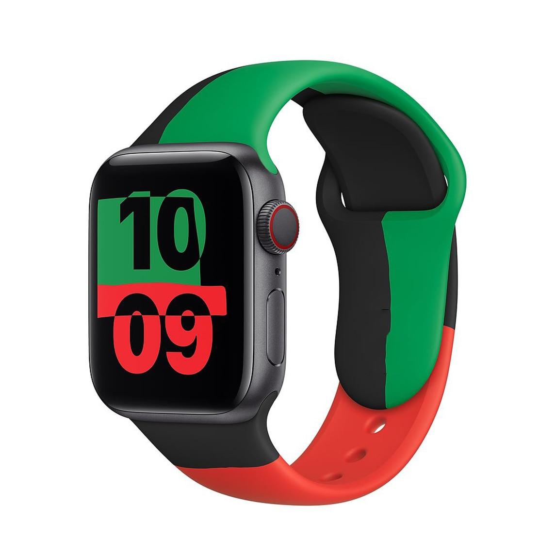 Ремешок спортивный для Apple Watch Series 6 SE 5 4 3 2, мягкий силиконовый черный браслет для iWatch 38 мм 42 мм 40 мм 44 мм, 2021