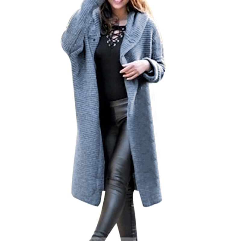 Hot Autumn Sweater Jacket Women's Long Solid Color Hoodie Sweater Women's Knit Pullover Large Size Cardigan Jacket