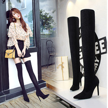 Sexy BlingBling Sequined Long Sock Boots Women Autumn Winter Over-the-Knee Pointed Toe Boots Ladies Solid Club Thin Heel Booties sexy women black over the knee long boots ladies bright surface pointed toe super high thin heel long boots fashion boots