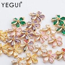 Jewelry-Accessories Pendants Zircon YEGUI Diy Earrings Flower-Shape Microns Gold-Plated