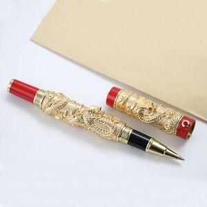 Image 3 - 高級jinhaoドラゴンボールペンヴィンテージメタル署名ペン0.7ミリメートルペン先canetaオフィス用品のギフトボックスセット材料アブラソコムツ