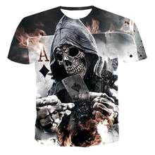 2020 Summer New Men 'S T -Shirt 3d Skull &Poker Fashion Short -Sleeved Tops Street Round Neck T -Shirt Unisex Casual T -Shirt