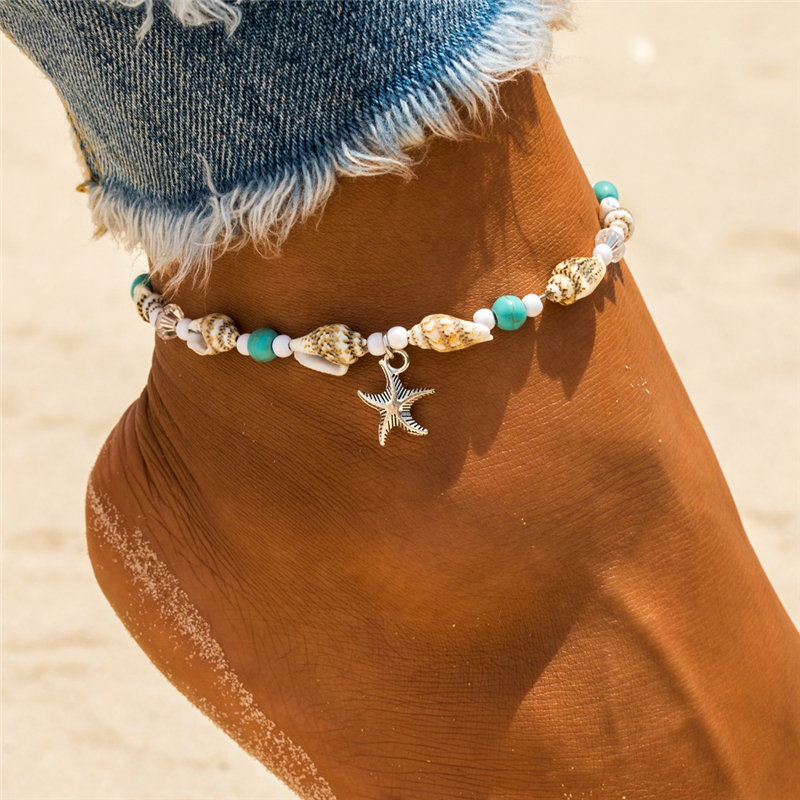 Vintage Anklet Starfish Pendant Anklets 2019 For Women Bohemian Stone Beads Shell Conch Ankle Bracelet Beach Foot Jewelry