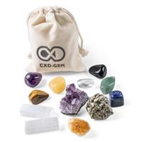 12PCS Irregular Chakra Amethyst Cluster Crystal Natural Stones and Minerals Reiki Healing Crystal Tumbled Stones Decoration Hone