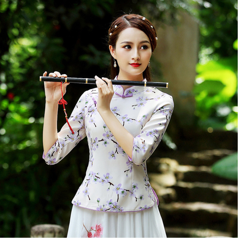 S-3XL Ladies Chinese Shirts Tops Long Sleeve Blouse Chinese Clothing Vintage Blouse Floral Hanfu Microelastic Tshirt