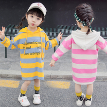 Spring Autumn Straight Dress Girls Children Clothing Long Sleeve Hooded Dresses Kids Loose Clothes Stripe Letter Dress Cotton все цены