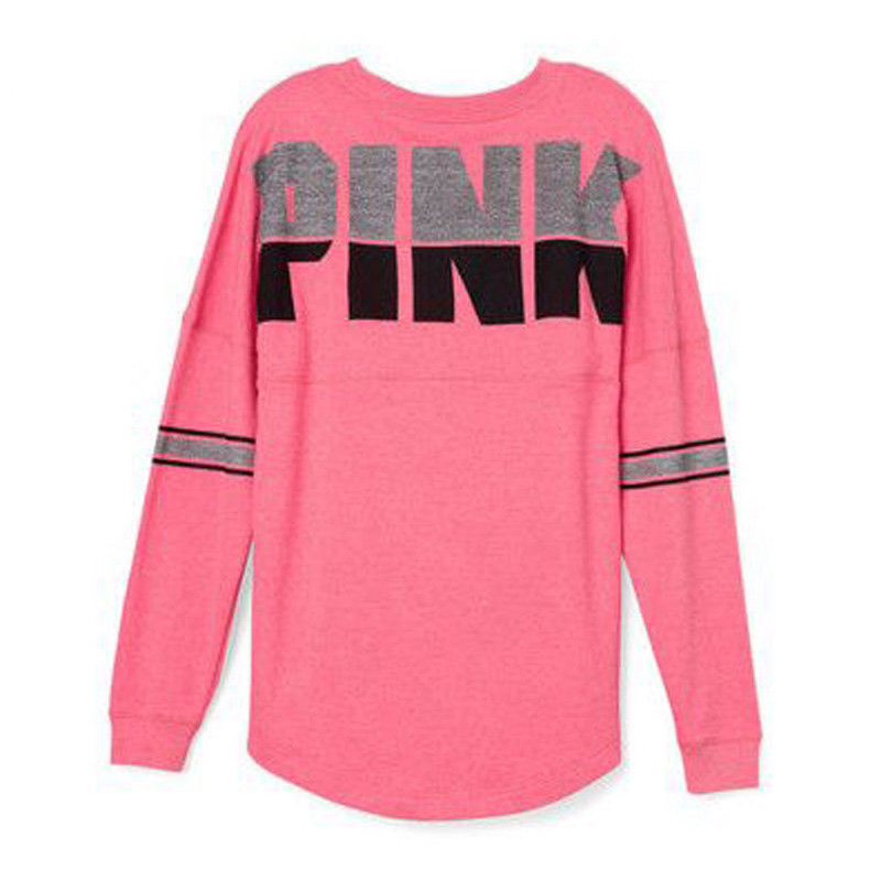 Brand New Women T-Shirts Casual Print Letter Pink Tshirt Loose Fashion Tee Shirt Female Long Sleeve Streetwear