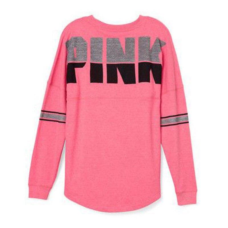 Brand New Women T-Shirts Casual Print Letter Pink Tshirt Loose Fashion Tee Shirt Female Long Sleeve Streetwear