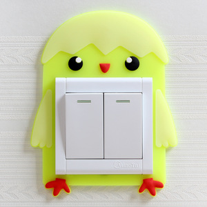 Image 4 - Cute Cartoon 3D Wall Silicon on Switch Stickers Children Luminous Switch Light  Home Decoration