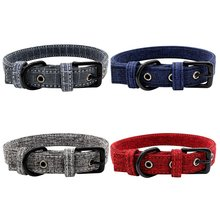 Dog Adjustable Collars Double Thick Canvas Deluxe Small Medium Dog Collar Simple Solid Color Design Pet Necklace For Chihuahua(China)