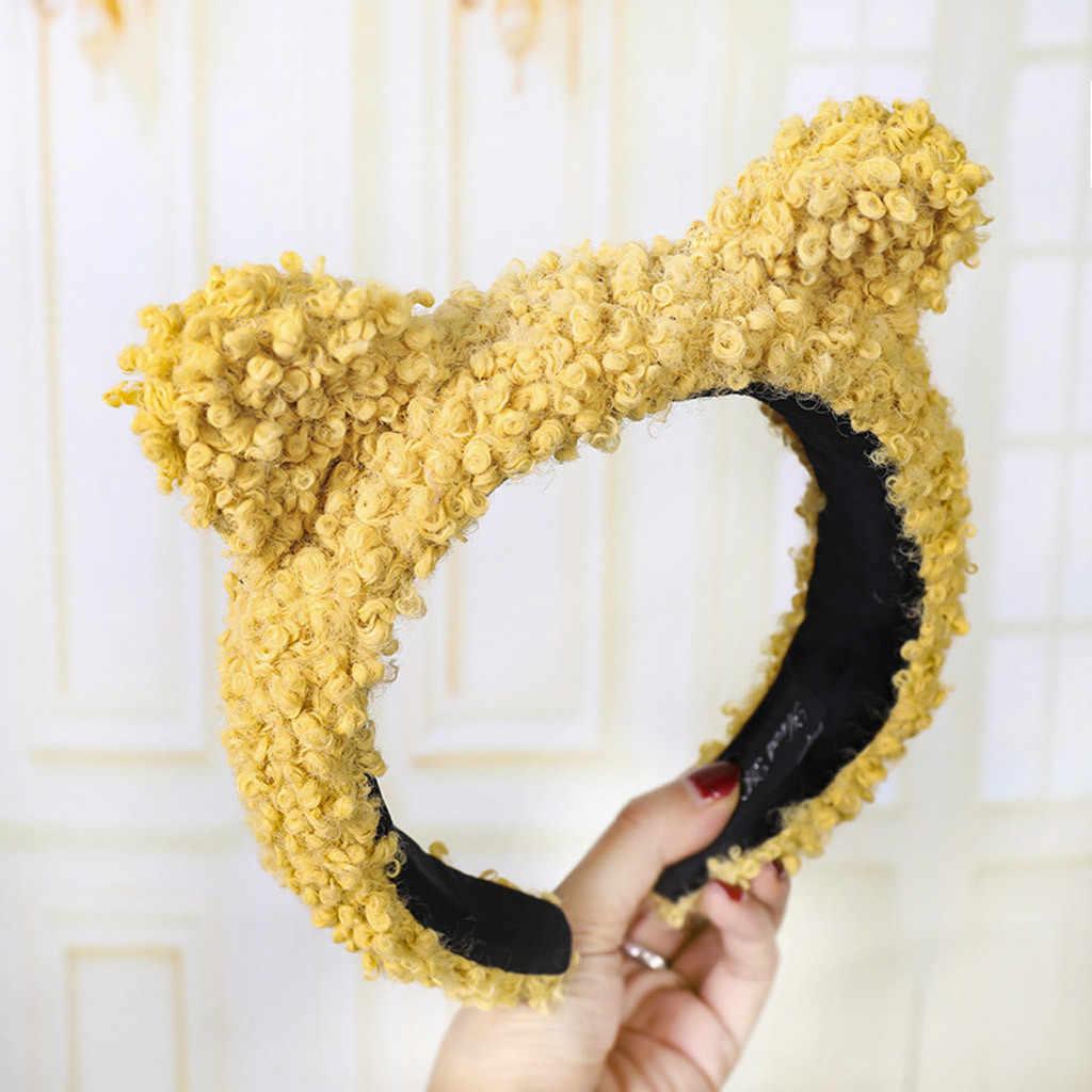 Moda kadın kafa bandı saç aksesuarları peluş karikatür hayvan geniş ağızlı çember pres saç bandı firkete kadın kızlar saç bandı