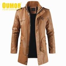 Oumor Men Autumn Fashion Long Warm Fleece Leather Jacket Coat Men Winter Casual England Style Vintage Leather Jacket Parkas Men