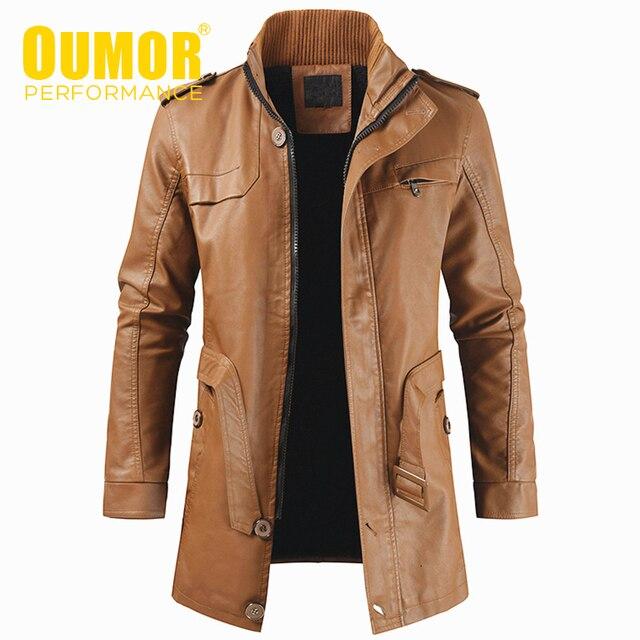 Oumor גברים סתיו אופנה ארוך חם צמר עור מעיל מעיל גברים החורף מקרית אנגליה סגנון בציר עור מעיל מעיילי גברים