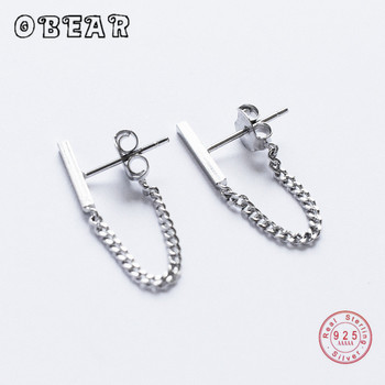 OBEAR  100% 925 Sterling Silver Geometric Chain Earrings For Women Girls Party Gift Prevent Allergy  Sterling Silver Jewelry obear 100% 925 sterling silver earrings for women geometric rectangle zircon earrings girl gift silver jewelry