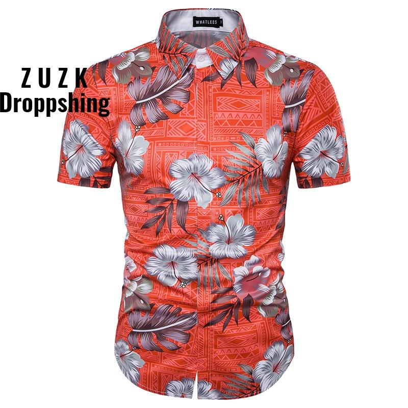 DropshippingSummer Floral pattern 3D printed palm tree beach casual short-sleeved shirt , Slim Fit casual shirt US SIZE image