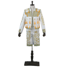 Fashion men's court suit Spanish bullfighting suit high collar Chinese style 3 piece stage singer costume(suit coat+Pants+Vest
