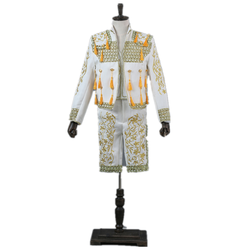 Fashion mens court suit Spanish bullfighting suit high collar Chinese style 3 piece stage singer costume(suit coat+Pants+Vest)