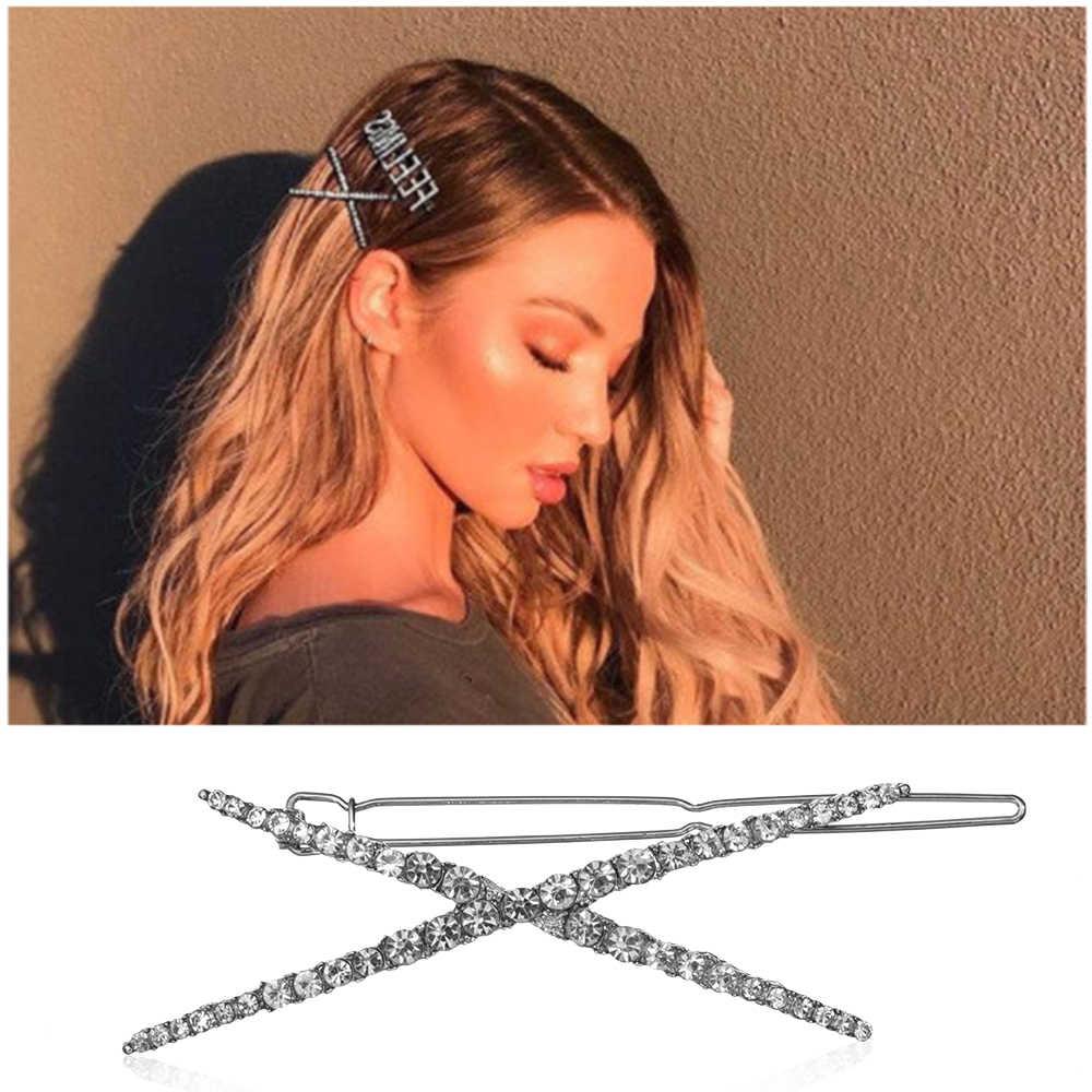 1/комплект из 2 предметов в Корейском стиле блестящие заколка со стразами женские модные Кристаллы геометрический заколка для волос для девочек заколка для волос, заколка для волос, аксессуары для волос