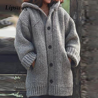 Lipswag 5XL Vintage Loose Pocket Cardigans Sweaters Women Autumn Winter Long Sleeve Button Sweater Casual Plus Size Coat Female