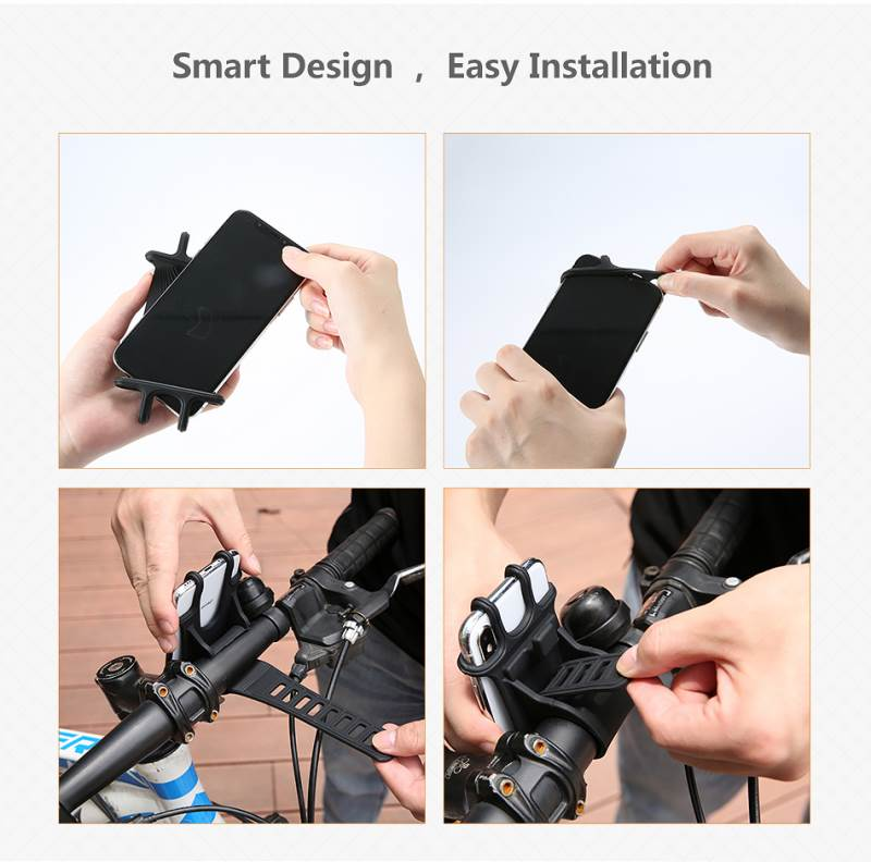 High Quality Silicone Bicycle Phone Holder For iPhone Universal Motorcycle Bike Stand GPS Bracket For 4.0-6.3inch Mobile Phone 5