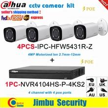 Zestaw monitoringu IP Dahua IP zestaw monitoringu NVR 4CH 4K wideorejestrator NVR4104 P 4KS2 i Dahua 4MP kamera IP 4 sztuk IPC HFW5431R Z
