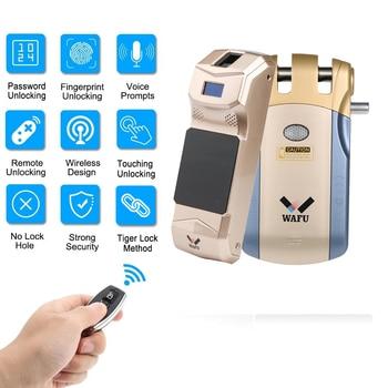 WAFU 018B Pro Smart Invisible Fingerprint Remote Lock Keyless Entry Door Lock Security Anti-theft Lock with Fingerprint Keypad