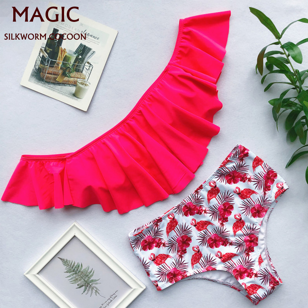 Summer Women Couples Beach Red Flamingo Print Bikini Set Men  Shorts Trunks Swimwear Pants National Sand Beach Men's Swimsuits