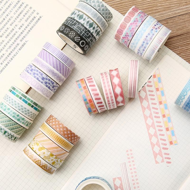 5pcs/lot Washi Tape Set Geometric Masking Washi Tape DIY Decoration Scrapbooking Adhesive Tape Label Journal Sticker Stationery