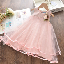 Girls Princess Dress New Summer Kids Pink Mesh Prom Costumes Toddler Baby Sweet Dress with Cosage Elegant Children Vestidos 3 7Y girl elegant party dress new summer kids tiered mesh dress sweet solid costumes princess suit children clothing 3 7y