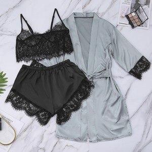Satin Silk Pajamas Robe Lace Lingerie Women Underwear Sleepwear Pants With Belt Sexy Nightwear Set Pyjamas women W10