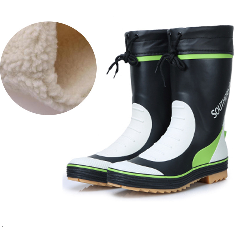 Real rubber boots Winter Fishing Waterproof Short rain shoes Warm fleece lining Soft Non-slip Wading Car Wash Garden large size image