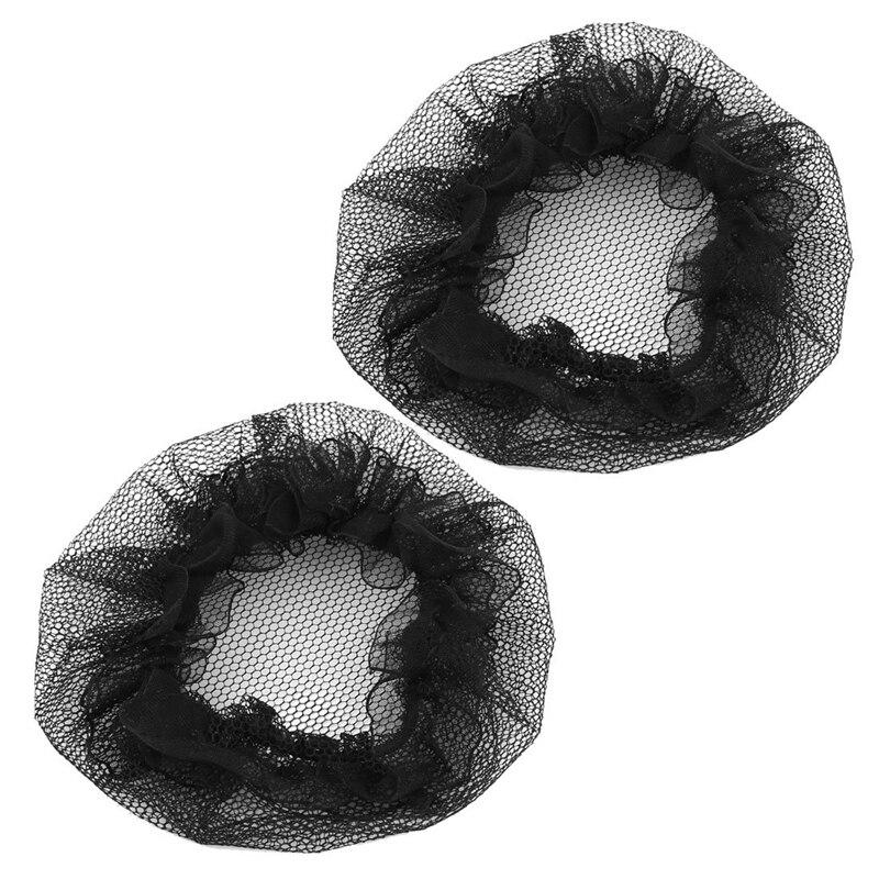 2 Pcs Nylon Mesh Stretchy Ballet Bun Hair Covers Hairnet Black For Woman